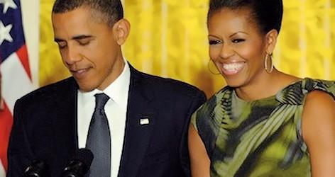 Michelle Obama lució un tejido de Gratacós en una recepción oficial.
