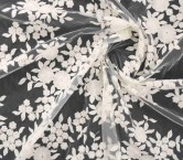 Ivory cotton flowers on mesh