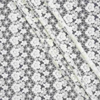 Ivory bordado flor algodon