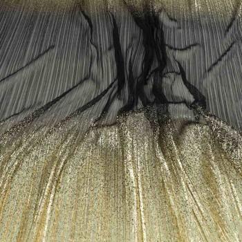 Plisado con borde lamÉ negro oro