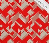 Jacquard geometrico con lamÉ rojo