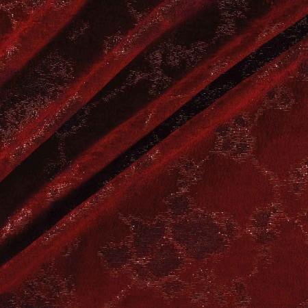 Jacquard chenilla aterciopelada lurex rojo