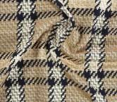 Jacquard abrigo de cuadros ocre marron