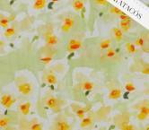Estampado flor organza verde amarillo