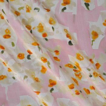 Estampado flor organza rosa