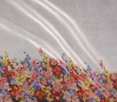 Estamp.flor organza 110cm azul verde