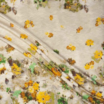 Estampado flores verde amarillo