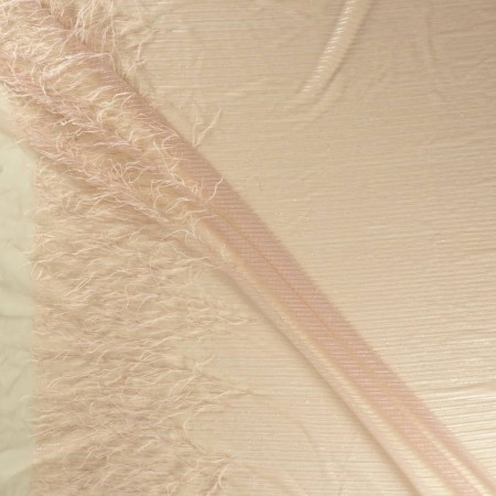 Tul bordado plumas rosa antiguo