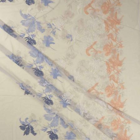Light blue botanic embrodery
