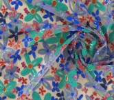 Bordado fun flowers azul