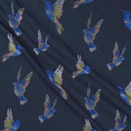 Jacquard pajaros jeans azul