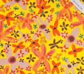 Jacquard de cuadros estampado flor amarillo