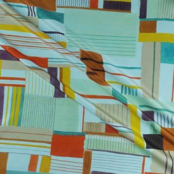 PiquÉ estampado geometrico azul verde marron