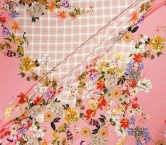 SatÉn crespo estampado flor rosa pano 140cm