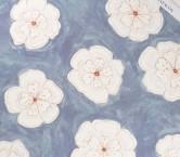 SatÉn crespo estampado flor azul