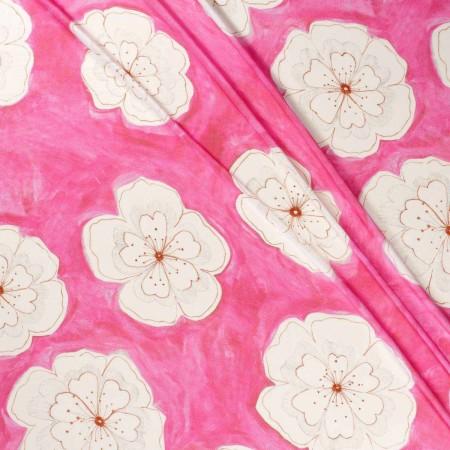SatÉn crespo estampado flor rosa