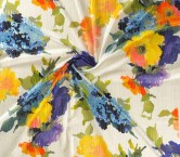 Estampado floral sobre rayas opaco-transparentes