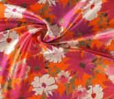 Mikado estampado flor fuxia naranja