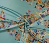 Mikado estampado flores turquesa claro