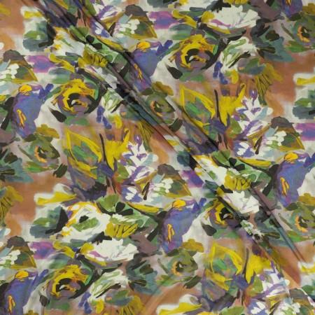 Georgette estampado flor azul violeta