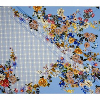Twill estampado flor pano 140cm azul