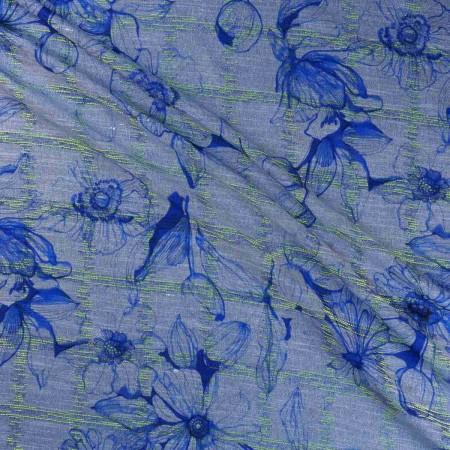 Blue estampado flor duojeans