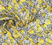 Raso estampado flores negro amarillo