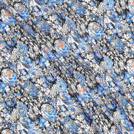 Raso estampado flores azul negro