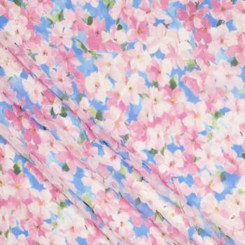 Organza estampada flores azul rosa