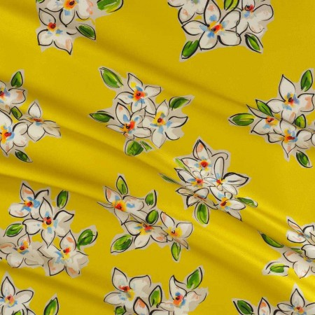 Yellow floral printed mikado