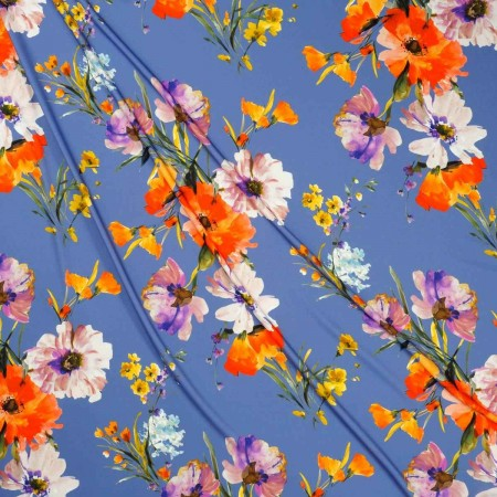 CrÊpe estampado flores lila naranja