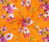 CrÊpe estampado flores naranja rosa