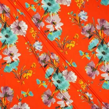 CrÊpe estampado flores rojo turquesa