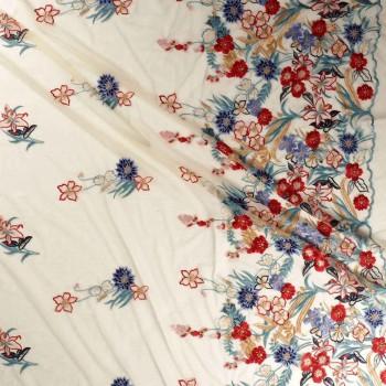 Bordado floral multicolor azul