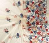 Blue bordado floral multicolor