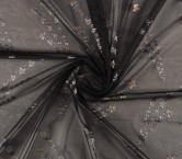 Jacquard organza pano 67cm gris marron