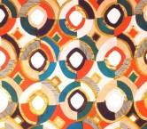 CrÊpe estampado geomÉtrico rojo turquesa