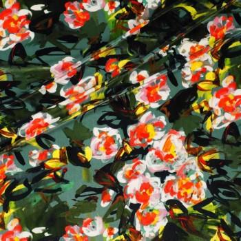 Terciopelo estampado flor verde