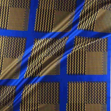 Blue yellow estampado geometri