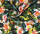 CrÊpe estampado flor gestual verde
