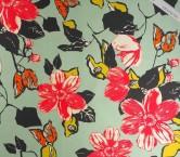 Mikado estampado flor fuxia turquesa