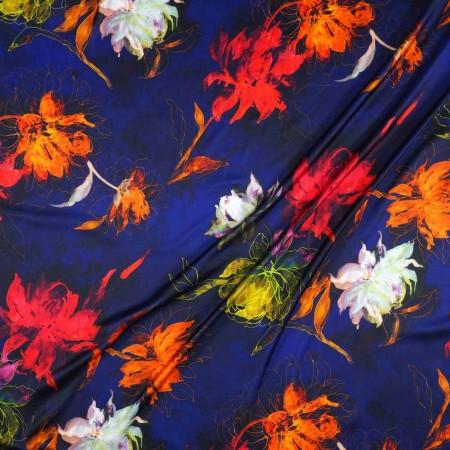 Raso estampado flor azul naranja