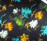 Raso estampado flor turquesa