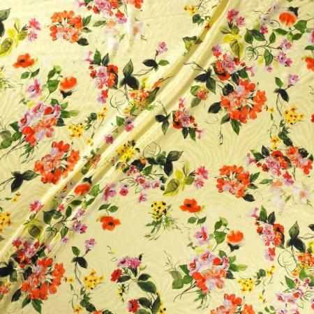 Estampado flor viscosa rosa amarillo