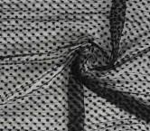 Black bordado mini flor plisad