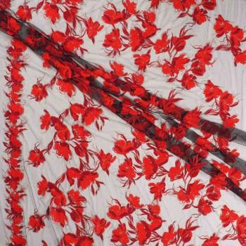 Tul bordado flor rojo
