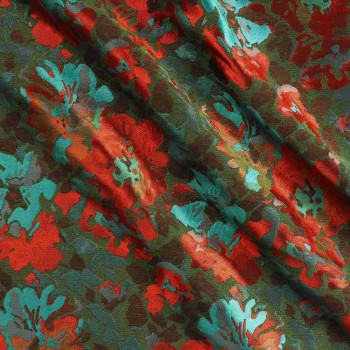 Red green jacquard flor