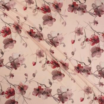Georgette estampado flores rosa vintage