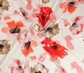 Raso estampado flores rojo