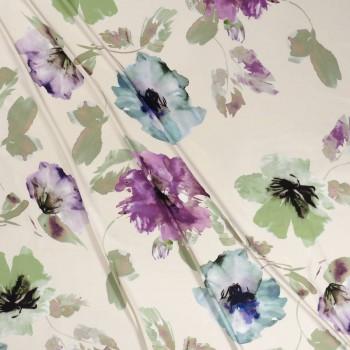Raso estampado flores turquesa lila